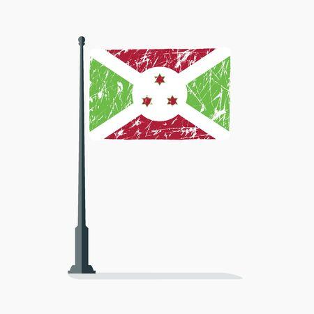 Burundi flag with scratches, vector flag of Burundi on flagpole with shadow. Stock Illustratie