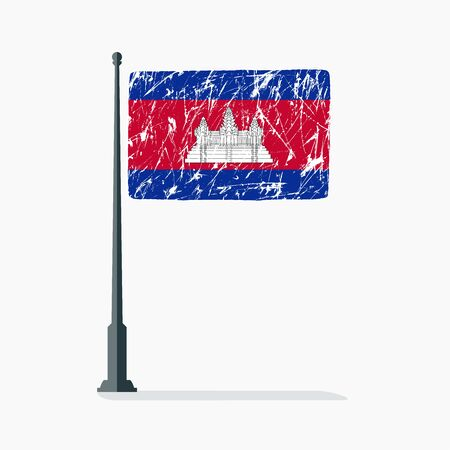 Cambodian flag with scratches, vector flag of Cambodia on flagpole with shadow. Stock Illustratie