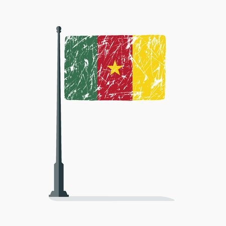 Cameroon flag with scratches, vector flag of Cameroon on flagpole with shadow.