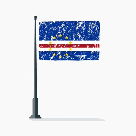 Cape Verde flag with scratches, vector flag of Cape Verde on flagpole with shadow.