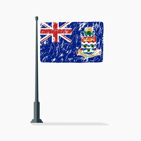 Cayman Islands flag with scratches, vector flag of Cayman Islands on flagpole with shadow.