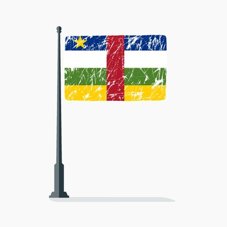 Central African Republic flag with scratches, vector flag of Central African Republic on flagpole with shadow.
