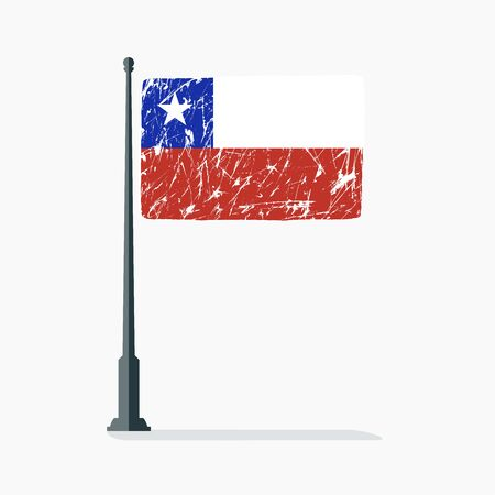 Chilean flag with scratches, vector flag of Chile on flagpole with shadow.