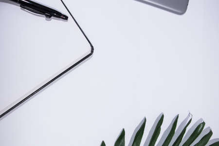 White background with a notebook, a pen, a piece of leaf and a tablet