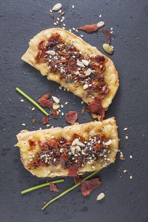 Crunchy ham and banana delicious Spanish tapas, overhead shot 写真素材