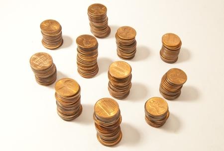 pennies: Stacks of Pennies