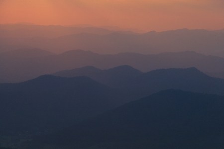 A hazy sunset vista on the Blue Ridge Parkway Stock Photo - 18013286