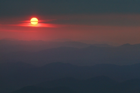 Hazy Sunset on the Blue Ridge Parkway Stock Photo - 18013323