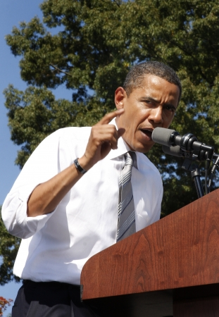 President Barack Obama speaking at a rally Editorial