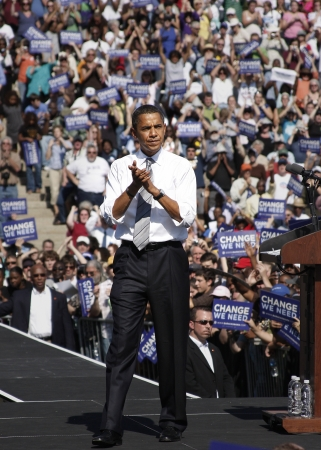 obama: President Barack Obama after a speeking at a rally