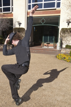 jazzy: A breakdancer performing a pose