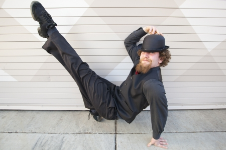 A breakdancer performing a pose
