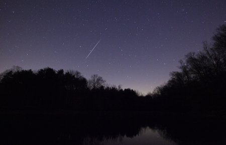 A Geminid Meteor over Lake Norman