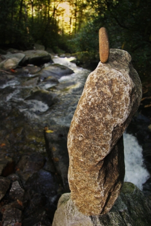 A cairn near Looking Glass Creek in Pisgah National Forest Stock Photo - 18134404