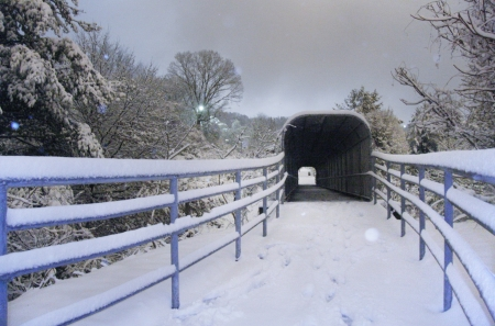 A snowy walkway to a covered footbridge