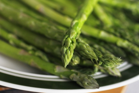 A plate of asparagus Stock Photo