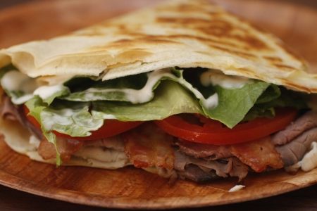 A meat lovers crepe Stock Photo