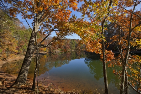 An autumn scenic of Lake Norman in the Piedmont of North Carolina Stock Photo