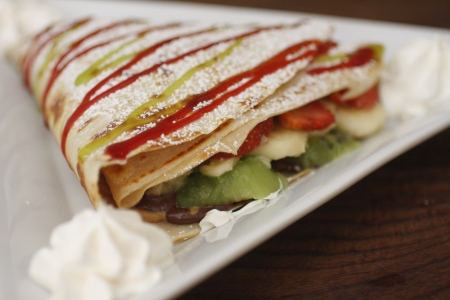 A fancy fruit crepe