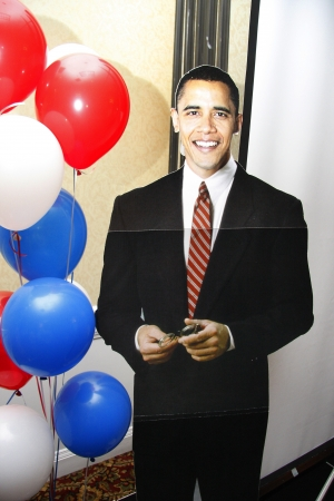 A cardboard cut out of President Barack Obama at a Democratic convention