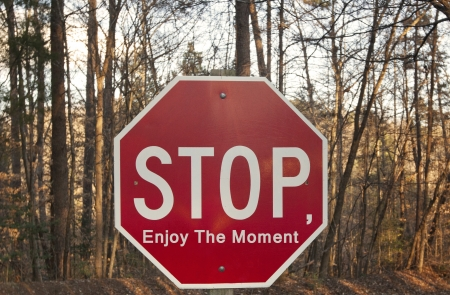 Stop, Enjoy The Moment sign