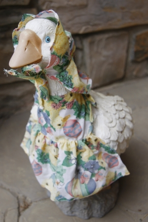A statue goose dressed for spring