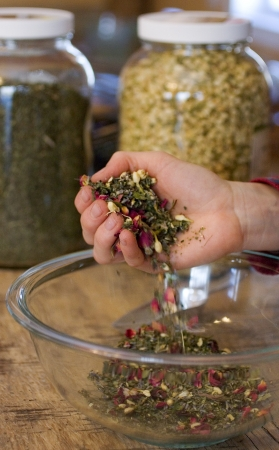 A handful of medicinal herbs