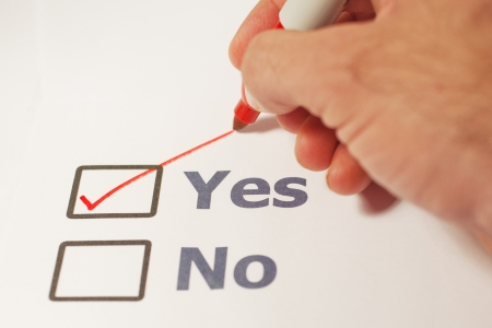 A checklist with the option of yes or no