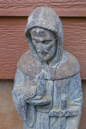st  francis: Saint Francis of Assisi Garden Sulpture Stock Photo