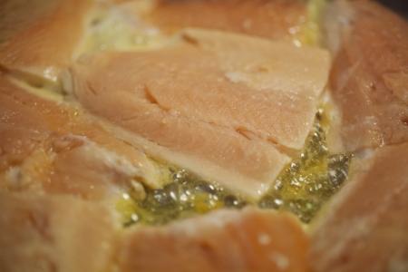 Pan-frying Salmon filets  photo