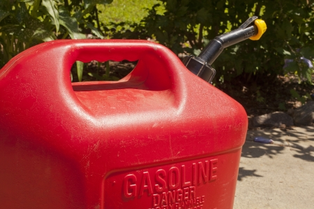 A red  five gallon fuel jug. Stock Photo