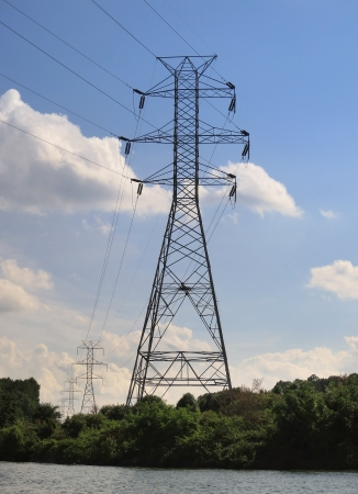 Row of high tension electrical lines