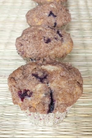 Freshly baked homemade blueberry muffins photo