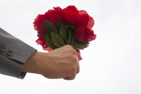 A hand holding a bouquet of plastic red flowers Stock Photo