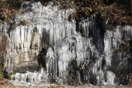 formed: Hanging Icicles formed on a rock face