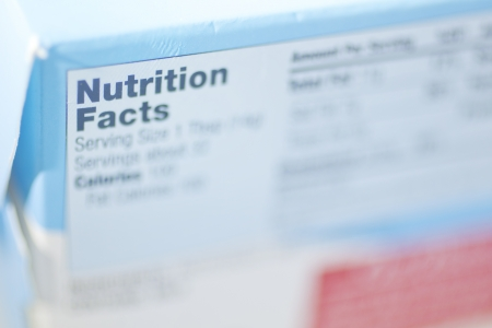 Selective Focus on a Nutrition Facts Label.  Imagens
