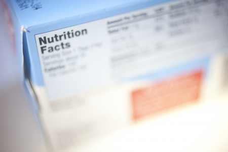 Selective Focus on a Nutrition Facts Label.  photo