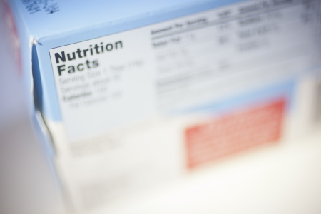 Selective Focus on a Nutrition Facts Label.  Stock Photo