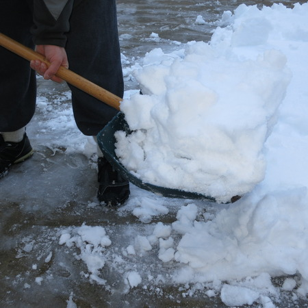 Shoveling snow after a winter storm photo
