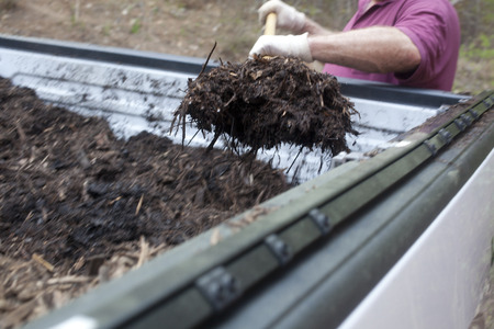 A landscaper getting mulch out from the back of a pickup truck with a pitchfork  photo