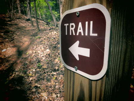 A filtered photo of a trail marker sign with an arrow pointing to the correct direction.