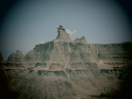 colorized: A filtered scenic in the Badlands National Park, South Dakota. Stock Photo