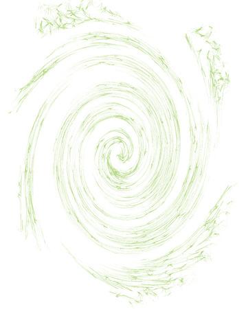 A faded green spiral design