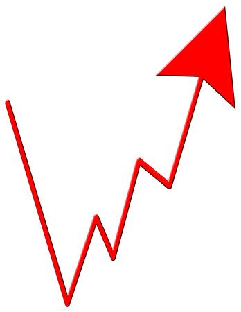 An upward zigzag red arrow design photo