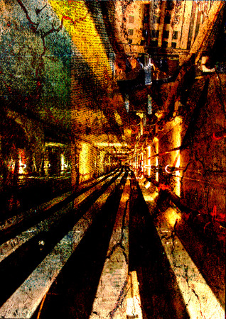 nightmarish: An abstract background photo manipulation of a perspective down an industrial hallway.