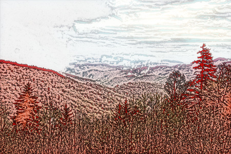 A photo illustration of a scenic mountain view.