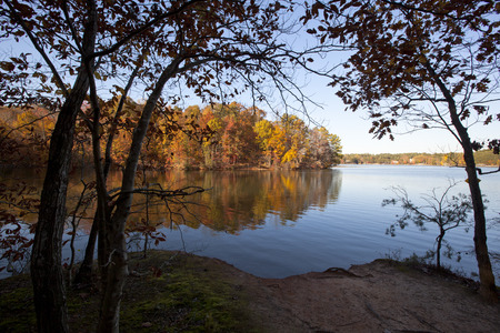 lake: A scenic autumn view on Lake Norman in North Carolina