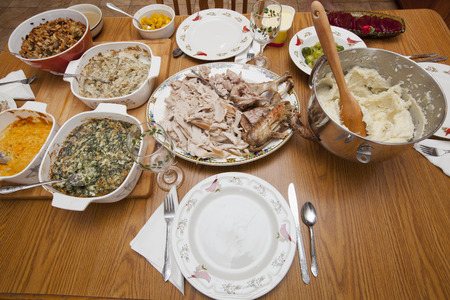 feast: A Thanksgiving Day feast set out on a table Stock Photo