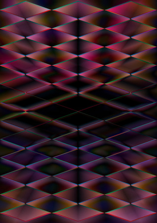 A dark psychedelic abstract diamond shaped background. Stock Photo