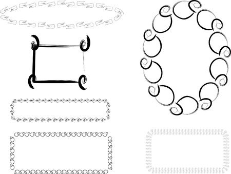 A set of swirl shaped frame background vector designs. Vector